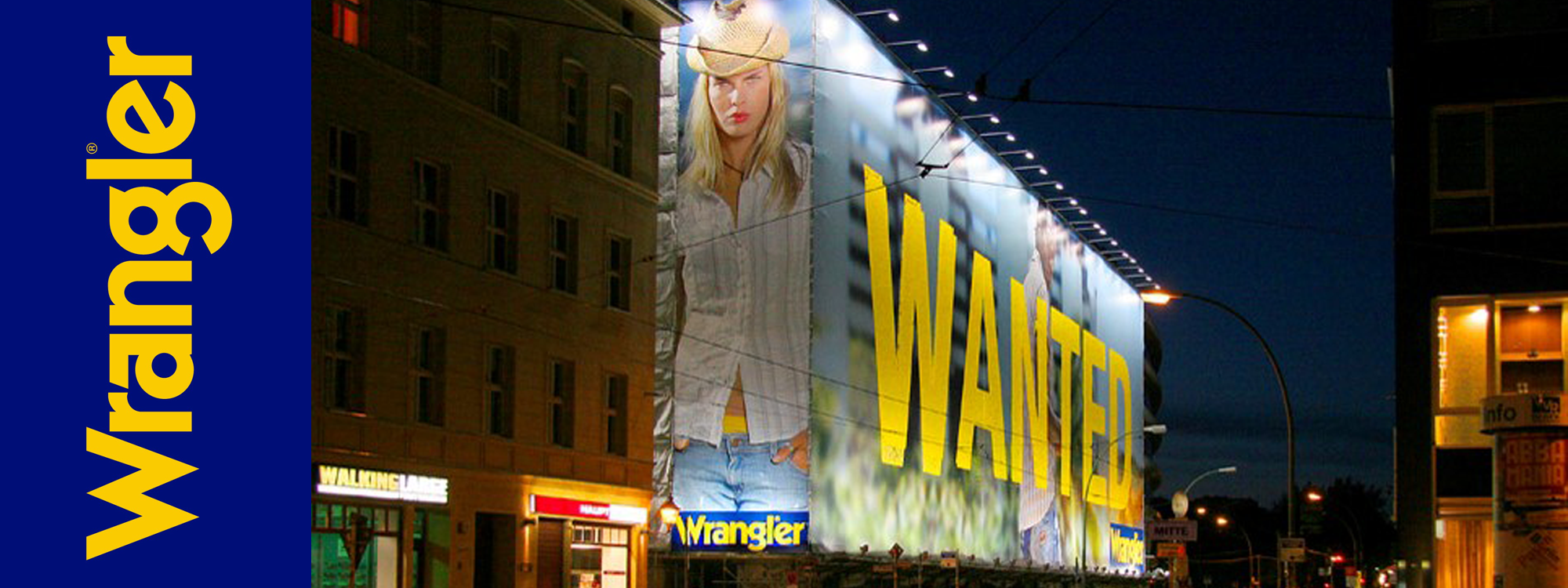 wrangler massive ad on building